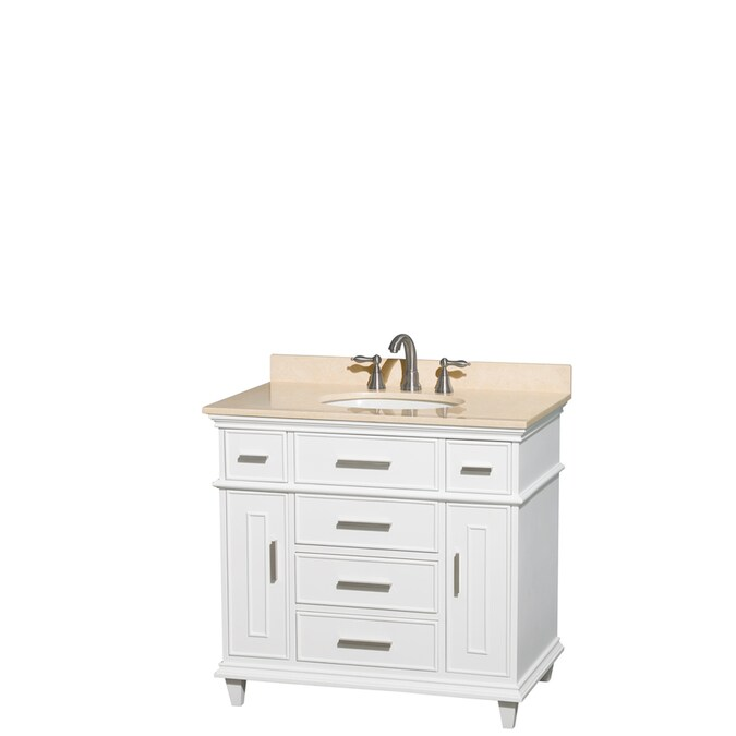 Wyndham Collection Berkeley 36 In White Undermount Single Sink Bathroom Vanity With Ivory Natural Marble Top In The Bathroom Vanities With Tops Department At Lowes Com