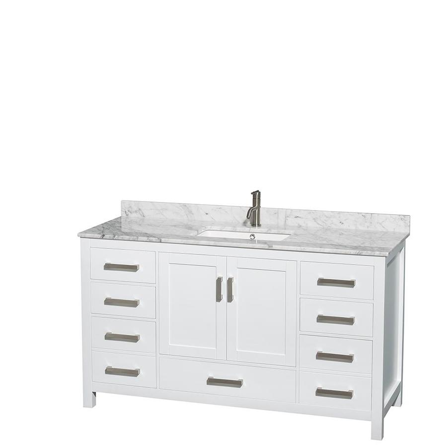 Wyndham Collection Sheffield 60-in White Undermount Single Sink Bathroom  Vanity With White Carrera Natural Marble Top In The Bathroom Vanities With  Tops Department At Lowes.com