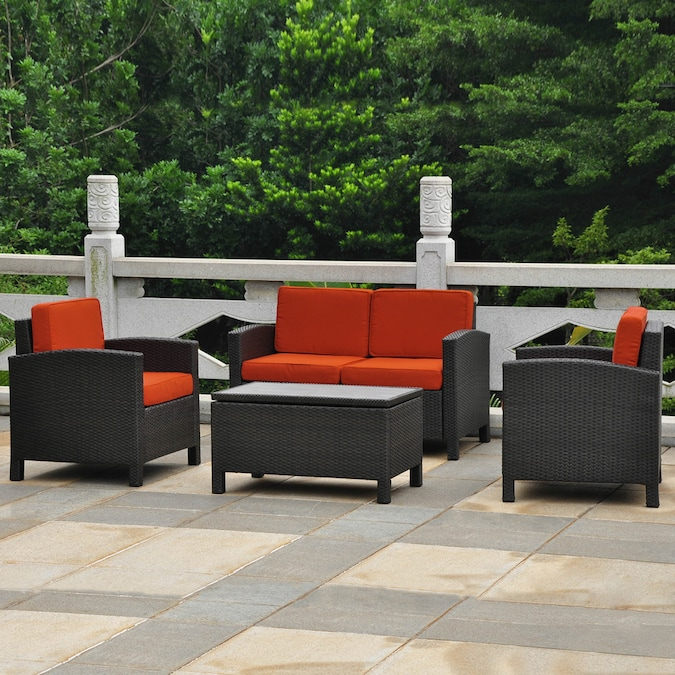 International Caravan Barcelona 4 Piece Metal Frame Patio Conversation Set With Cushions In The Patio Conversation Sets Department At Lowes Com