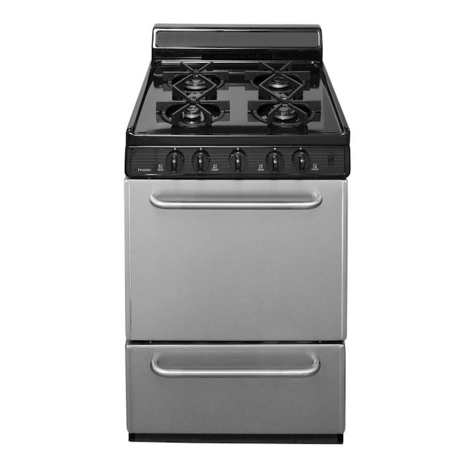 Premier 24 In 4 Burners 2 9 Cu Ft Freestanding Gas Range Stainless In The Single Oven Gas Ranges Department At Lowes Com
