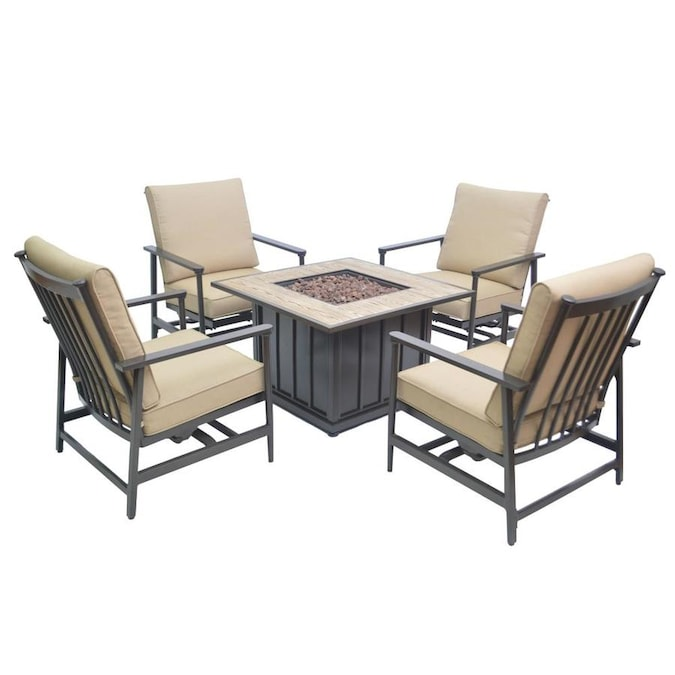 Foremost Hillcrest 5 Piece Metal Frame Patio Conversation Set With Sunbrella Cushions In The Patio Conversation Sets Department At Lowes Com
