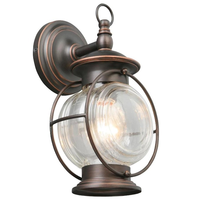 Portfolio Caliburn 12 25 In H Oil Rubbed Bronze Medium Base E 26 Outdoor Wall Light In The Outdoor Wall Lights Department At Lowes Com