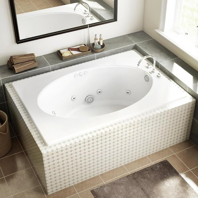 Jacuzzi Primo 42 In W X 60 In L White Acrylic Oval Reversible Drain Drop In Whirlpool Tub In The Bathtubs Department At Lowes Com