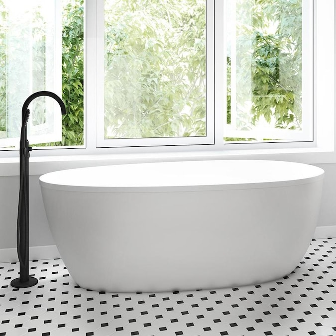 Jacuzzi Stretto 29 7 In W X 59 2 In L White Acrylic Oval Reversible Drain Freestanding Soaking In The Bathtubs Department At Lowes Com