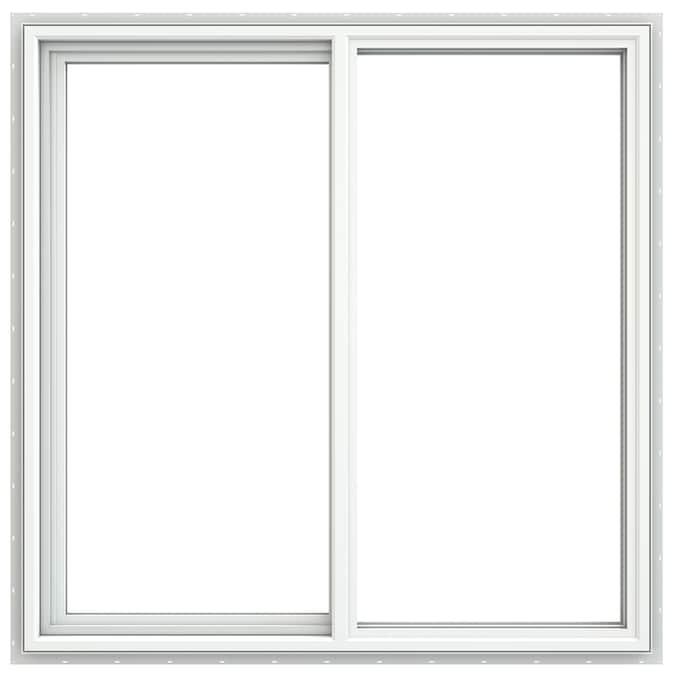 Jeld Wen V 4500 47 5 In X 47 5 In X 3 25 In Jamb Left Operable Vinyl New Construction Egress White Sliding Window In The Sliding Windows Department At Lowes Com