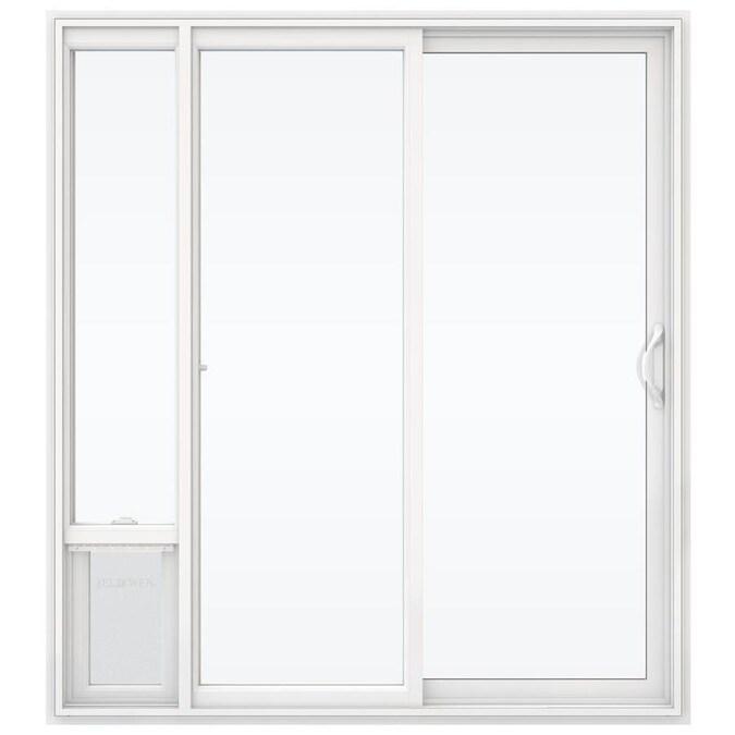 Jeld Wen 72 In X 80 In Clear Glass White Vinyl Right Hand Double Door Sliding Patio Door With Screen And Pet Door In The Patio Doors Department At Lowes Com