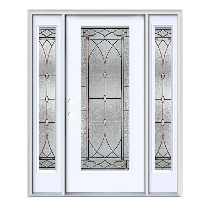 Jeld Wen Hutton 64 In X 80 In Steel Full Lite Right Hand Inswing Primed Prehung Single Front Door With Sidelights With Brickmould In The Front Doors Department At Lowes Com