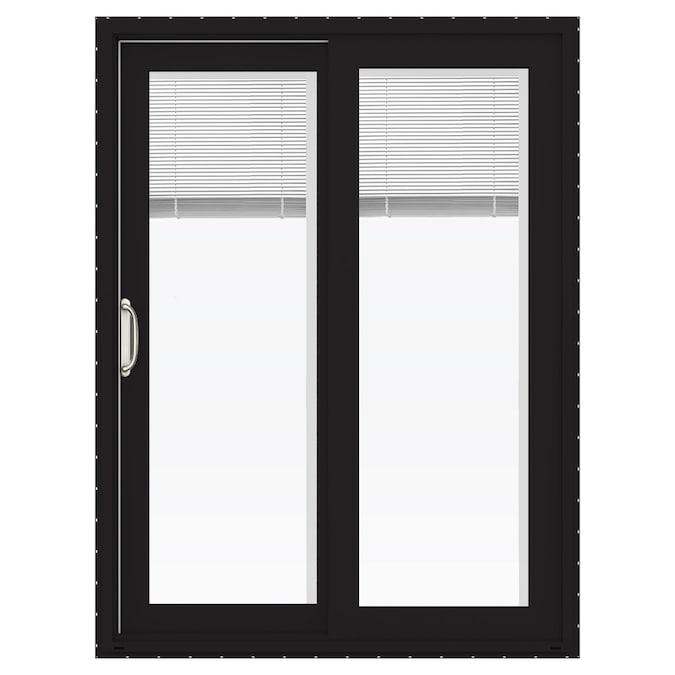 Jeld Wen Finishield V 4500 60 In X 80 In Clear Glass Black Vinyl Left Hand Sliding Double Door Sliding Patio Door With Screen In The Patio Doors Department At Lowes Com