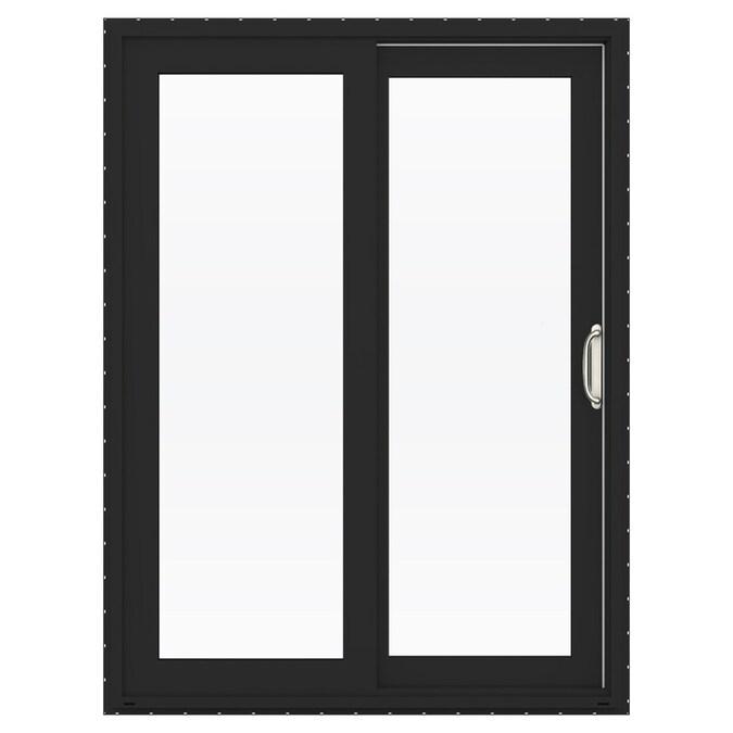 Jeld Wen Finishield V 4500 60 In X 80 In Clear Glass Bronze Vinyl Right Hand Double Door Sliding Patio Door With Screen In The Patio Doors Department At Lowes Com