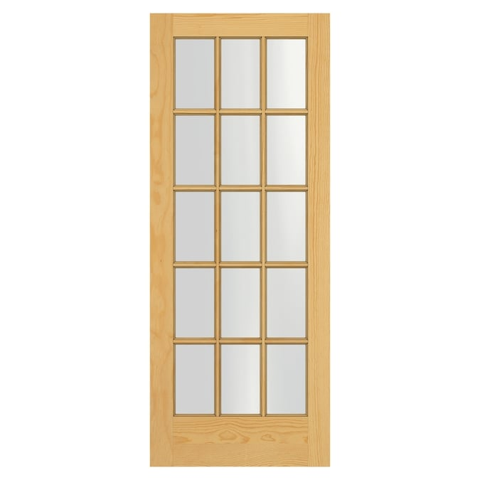 Masonite Traditional 30 In X 80 In Natural Clear Glass Solid Core Unfinished Pine Wood Slab Door In The Slab Doors Department At Lowes Com