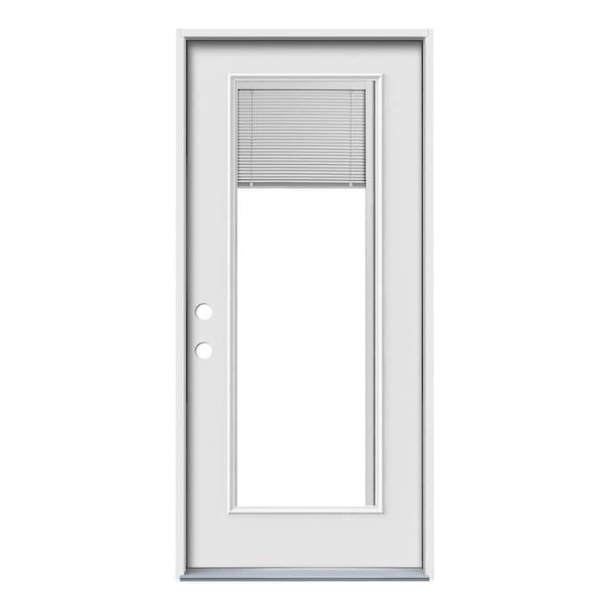 Jeld Wen 36 In X 80 In Steel Full Lite Right Hand Inswing Primed Prehung Single Front Door With Blinds In The Front Doors Department At Lowes Com