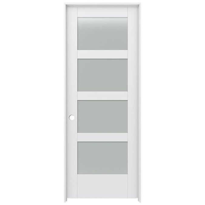 Jeld Wen Moda 1044w 30 In X 80 In Primed 4 Panel Square Frosted Glass Solid Core Primed Mdf Right Hand Single Prehung Interior Door In The Prehung Interior Doors Department At Lowes Com
