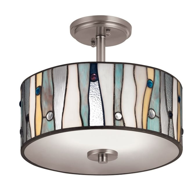 Portfolio 13 In Brushed Nickel Tiffany Incandescent Semi Flush Mount Light In The Flush Mount Lighting Department At Lowes Com