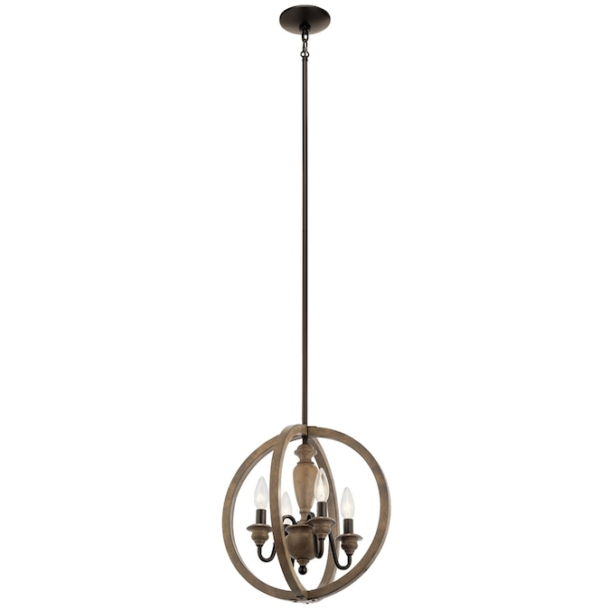 Kichler Beulah Olde Bronze And Wood Tone Farmhouse Globe Pendant Light In The Pendant Lighting Department At Lowes Com