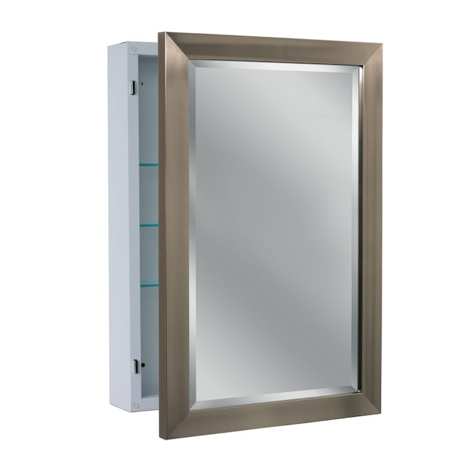 Allen Roth 22 25 In X 30 25 In Surface Brush Nickel Mirrored Rectangle Medicine Cabinet In The Medicine Cabinets Department At Lowes Com