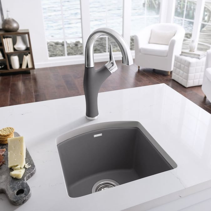 Blanco Diamond 15 In L X 15 In W Cinder Gray 1 Hole Granite Residential Bar Sink In The Bar Prep Sinks Department At Lowes Com