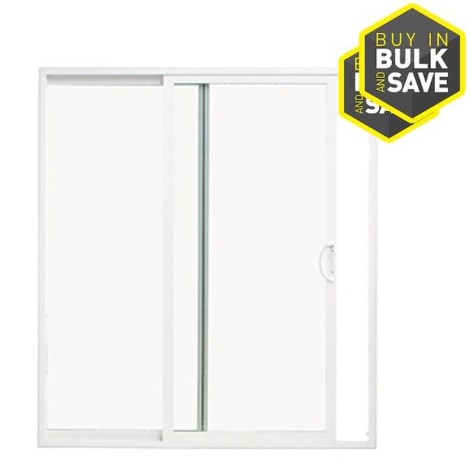 Thermastar By Pella 72 In X 80 In Clear Glass Vinyl Universal Reversible Double Door Sliding Patio Door In The Patio Doors Department At Lowes Com