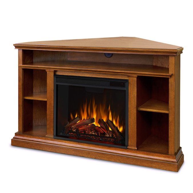 Real Flame 50 75 In W Oak Fan Forced Electric Fireplace In The Electric Fireplaces Department At Lowes Com