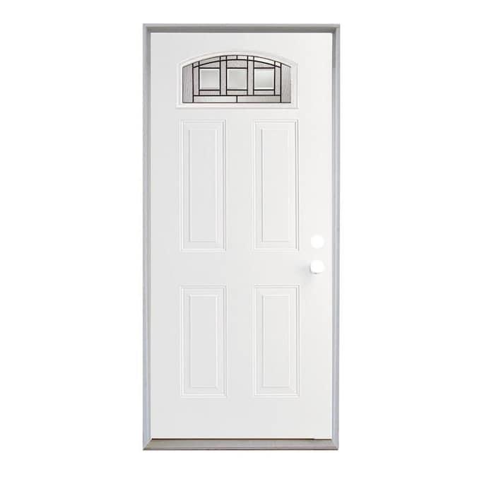 Reliabilt Craftsman 36 In X 80 In Steel 1 4 Lite Left Hand Inswing Primed Prehung Single Front Door With Brickmould In The Front Doors Department At Lowes Com