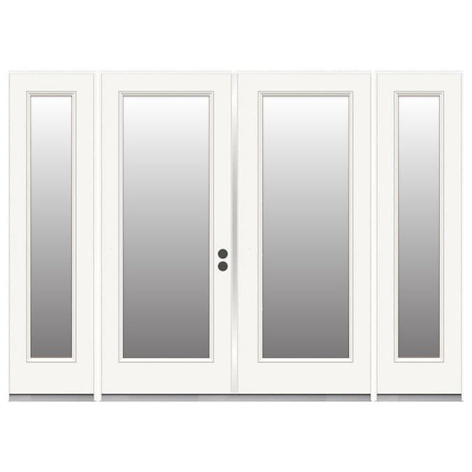 Reliabilt Steel Patio Door 96 In X 80 In Clear Glass Steel Left Hand Inswing Double Doors French Patio Door With Screen In The Patio Doors Department At Lowes Com