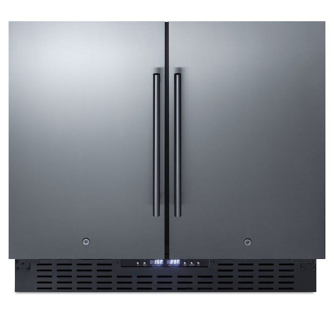 Summit Appliance 5 8 Cu Ft Undercounter Mini Fridge Freezer Compartment Stainless Steel Doors And Black Cabinet In The Mini Fridges Department At Lowes Com