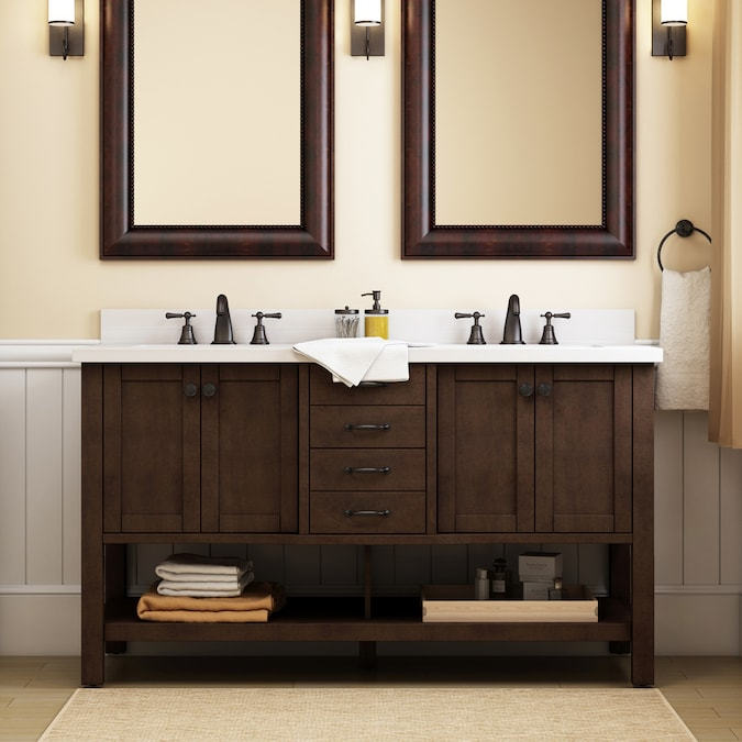 Allen Roth Kingscote 60 In Espresso Double Sink Bathroom Vanity With Espresso Engineered Stone Top In The Bathroom Vanities With Tops Department At Lowes Com