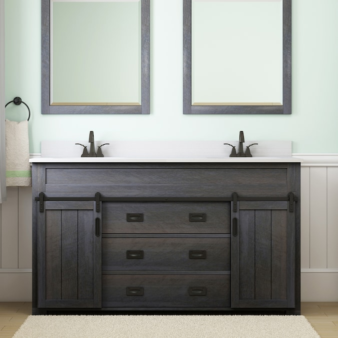 Style Selections Morriston 60 In Distressed Java Undermount Double Sink Bathroom Vanity With White Engineered Stone Top In The Bathroom Vanities With Tops Department At Lowes Com