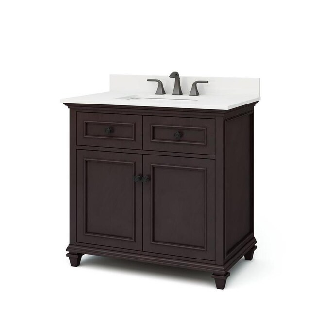 Allen Roth Chelney 36 In Espresso Undermount Single Sink Bathroom Vanity With Carrera White Engineered Stone Top In The Bathroom Vanities With Tops Department At Lowes Com