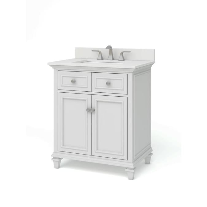 Allen Roth Chelney 30 In White Undermount Single Sink Bathroom Vanity With Carrera White Engineered Stone Top In The Bathroom Vanities With Tops Department At Lowes Com
