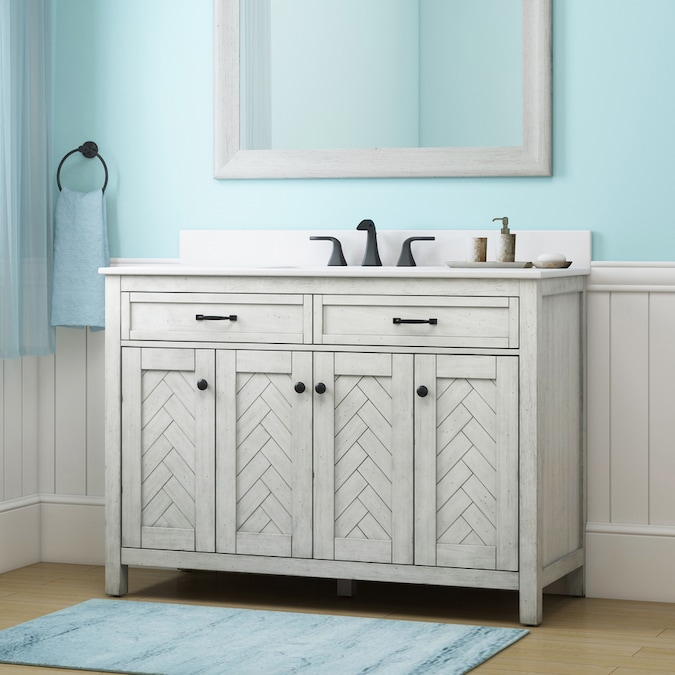 Allen Roth 48 In White Undermount Single Sink Bathroom Vanity With White Engineered Stone Top In The Bathroom Vanities With Tops Department At Lowes Com