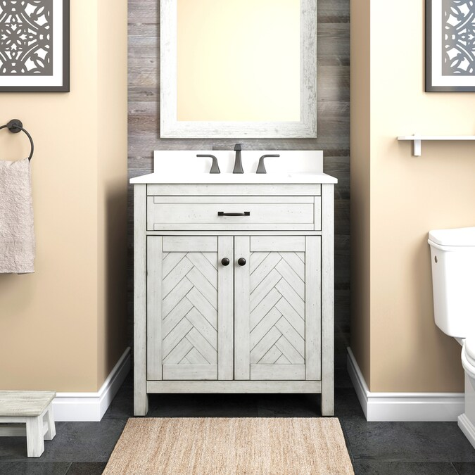 Allen Roth 30 In White Undermount Single Sink Bathroom Vanity With White Engineered Stone Top In The Bathroom Vanities With Tops Department At Lowes Com
