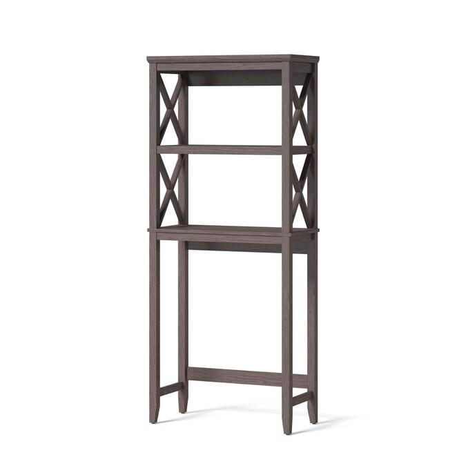 Allen Roth Gray 2 Tier Wood Freestanding Bathroom Shelf In The Bathroom Shelves Department At Lowes Com