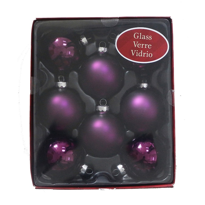 Holiday Living 8 Pack Purple Ball Ornament Set In The Christmas Ornaments Department At Lowes Com