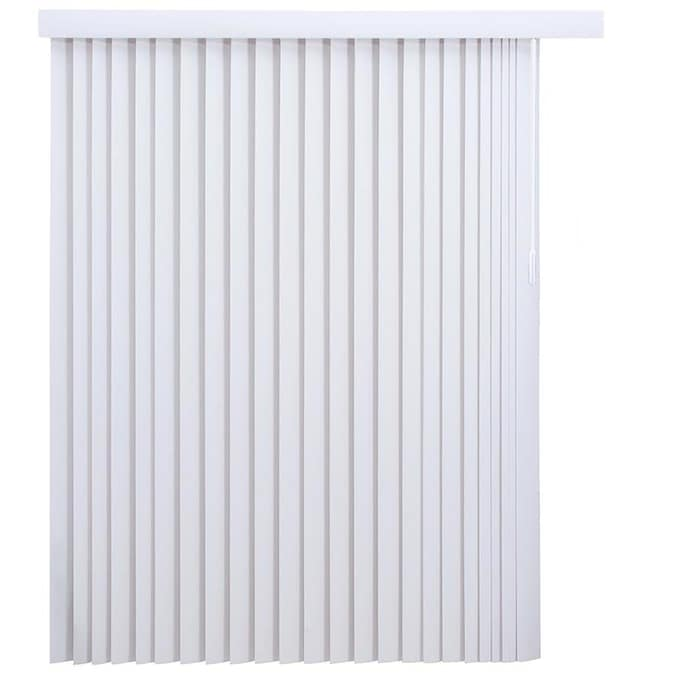 Project Source 3 5 In Slat Width 78 In X 84 In Cordless White Vinyl Light Filtering Vertical Blinds In The Blinds Department At Lowes Com