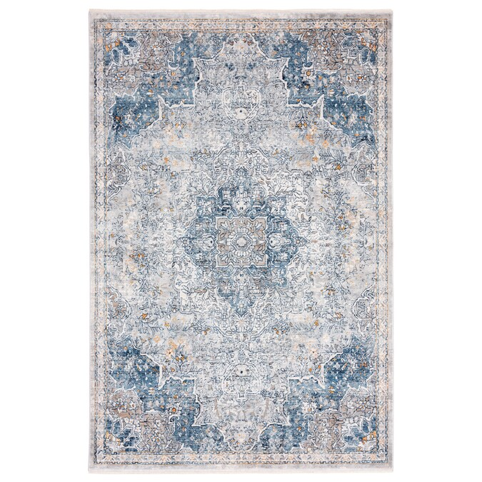 Home Dynamix Premier Estate 8 X 10 Ivory Blue Indoor Medallion Area Rug In The Rugs Department At Lowes Com