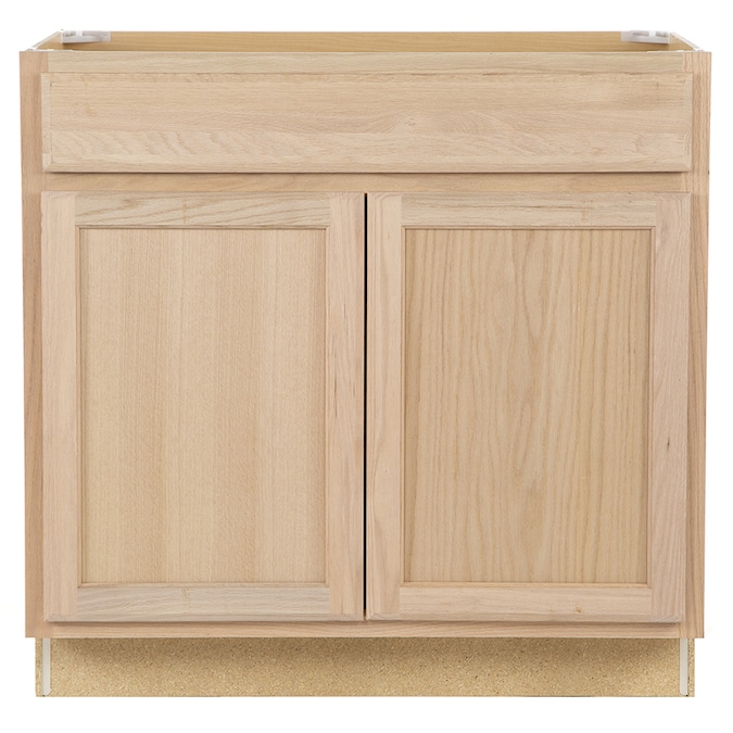 Project Source 36 In W X 35 In H X 23 75 In D Natural Unfinished Door And Drawer Base Stock Cabinet In The Stock Kitchen Cabinets Department At Lowes Com