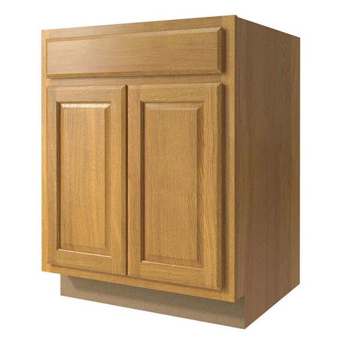 Diamond Now Portland 27 In W X 35 In H X 23 75 In D Wheat Door And Drawer Base Stock Cabinet In The Stock Kitchen Cabinets Department At Lowes Com
