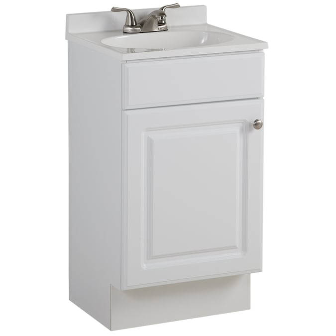 Project Source 18 In White Single Sink Bathroom Vanity With White Cultured Marble Top In The Bathroom Vanities With Tops Department At Lowes Com