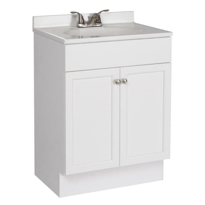 Project Source 24 In White Shaker Single Sink Bathroom Vanity With White Cultured Marble Top In The Bathroom Vanities With Tops Department At Lowes Com