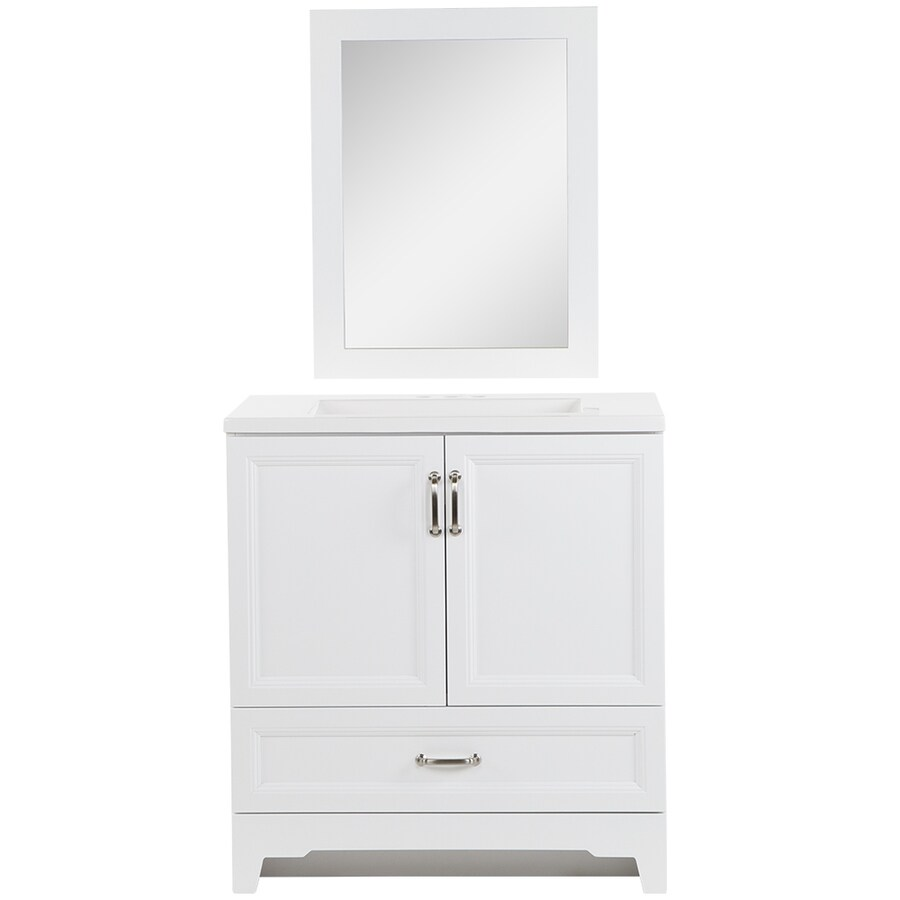 Style Selections 30-in White Single Sink Bathroom Vanity With White  Cultured Marble Top (Mirror Included) In The Bathroom Vanities With Tops  Department At Lowes.com