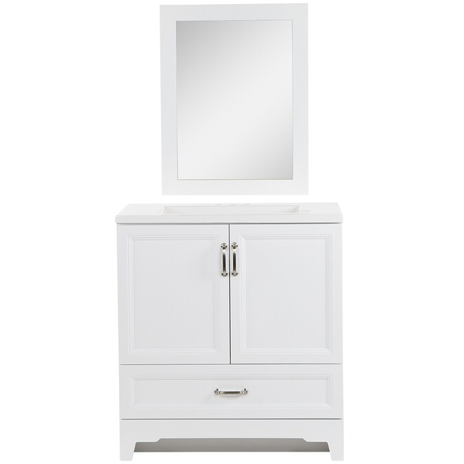Style Selections 30 In White Undermount Single Sink Bathroom Vanity With White Cultured Marble Top Mirror Included In The Bathroom Vanities With Tops Department At Lowes Com