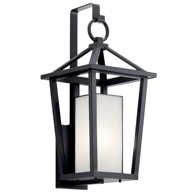 Kichler Pai 26 25 In H Black Medium Base E 26 Outdoor Wall Light In The Outdoor Wall Lights Department At Lowes Com