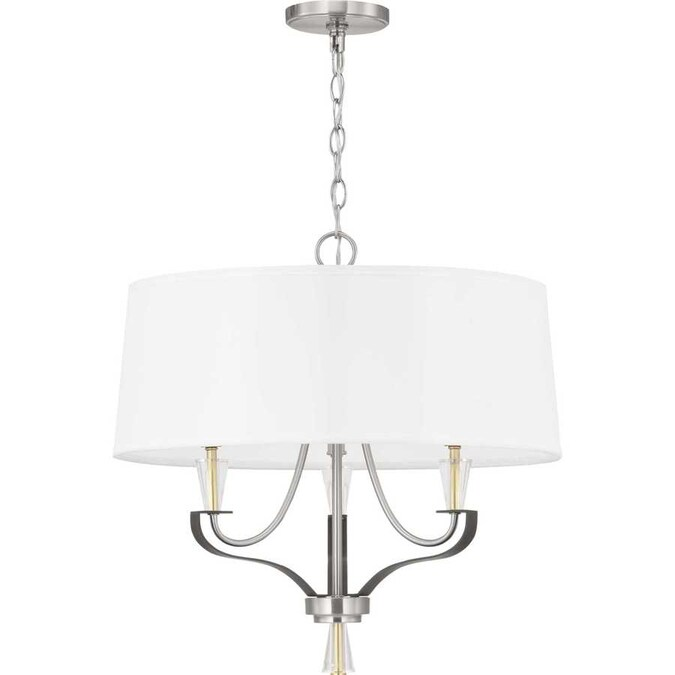Forte Lighting Tama 5 Light Brushed Nickel Chandelier With Satin White Glass Shade In The Chandeliers Department At Lowes Com