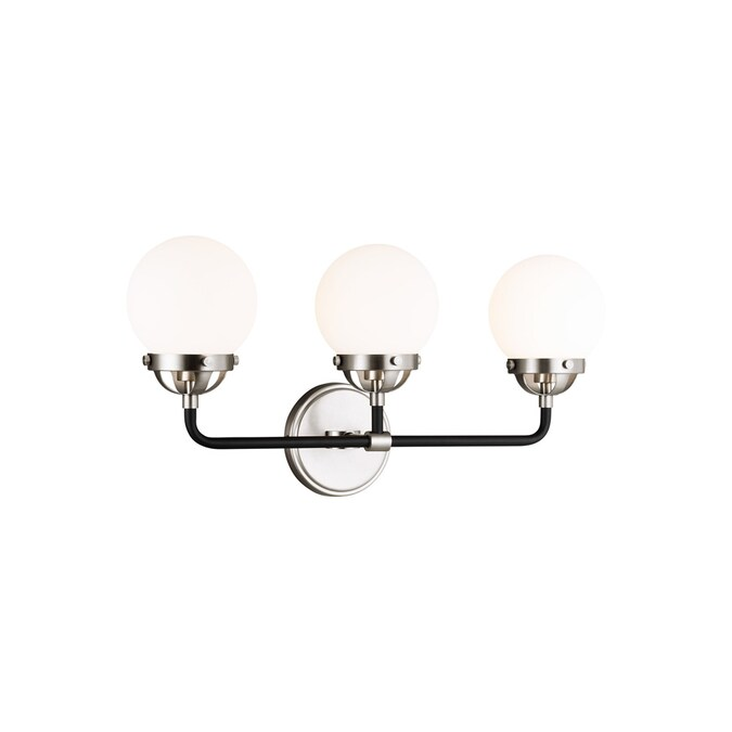 Sea Gull Lighting Cafe 3 Light Brushed Nickel Vanity Light With Etched White Glass Shades In The Vanity Lights Department At Lowes Com