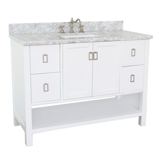Bellaterra Home Lv0300 Wh Wmr Single Vanity 49 In White Undermount Single Sink Bathroom Vanity With White Carrara Marble Top In The Bathroom Vanities With Tops Department At Lowes Com