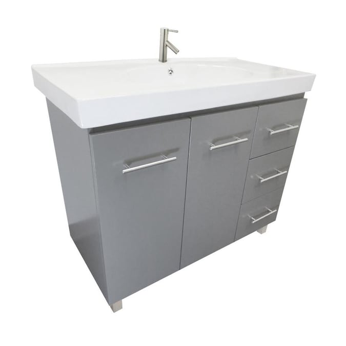 Bellaterra Home Lv3129 Gy R Single Vanity 40 In Gray Undermount Single Sink Bathroom Vanity With White Ceramic Top In The Bathroom Vanities With Tops Department At Lowes Com
