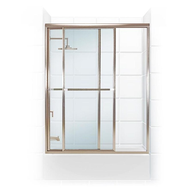 Coastal Shower Doors Paragon 58 In H X 54 In To 55 5 In W Framed Sliding Matte Black Bathtub Door Clear Glass In The Shower Doors Department At Lowes Com