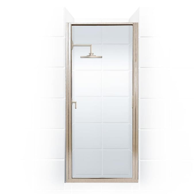 Coastal Shower Doors Paragon 74 In H X 22 In To 22 75 In W Framed Hinged Brushed Nickel Shower Door Clear Glass In The Shower Doors Department At Lowes Com