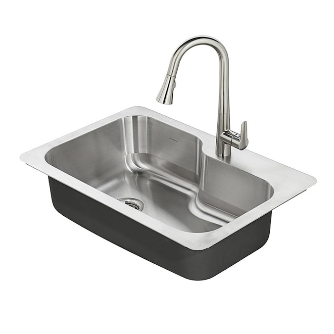 American Standard Raleigh Dual Mount 33 In X 22 In Stainless Steel Single Bowl 1 Hole Kitchen Sink All In One Kit In The Kitchen Sinks Department At Lowes Com