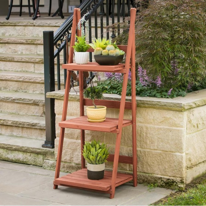 Leisure Season 60 In Natural Outdoor Rectangular Wood Plant Stand In The Plant Stands Department At Lowes Com
